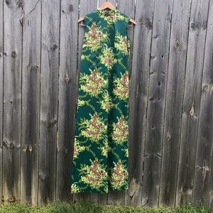 Vintage Green Floral Silky Polyester Maxi Dress